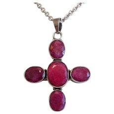 Vintage Ruby cross pendant,silver 925, ca. 1960