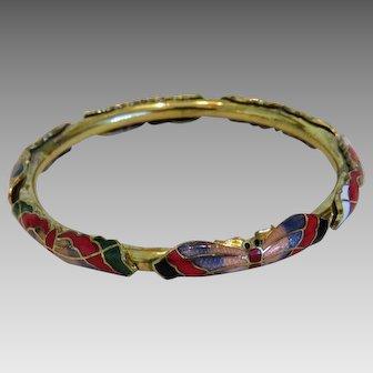 Antique enamel bangle.gilt metal,ca. 1900