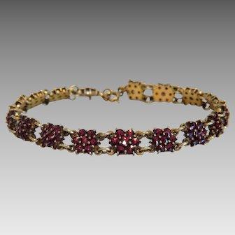 Antique Garnet bracelet,gilt silver, 19th century