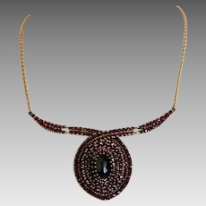 Antique Garnet necklace, gilt silver, ca. 1900