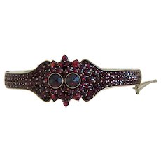 Antique Garnet bangle bracelet, silver 800, 19th century