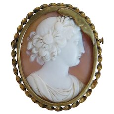 Antique shell Cameo brooch, gilt, metal, 19 th century