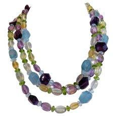 Vintage Amethyst, Aquamarine, Citrine and Olivine necklace, ca. 1950