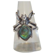 Antique spider ring with Abalone shell, silver 925, late 19th century