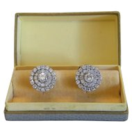 Pair of Diamond earrings, 18k white gold, ca. 1950