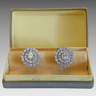 Pair of Diamond earrings, 18k white gold, ca. 1950