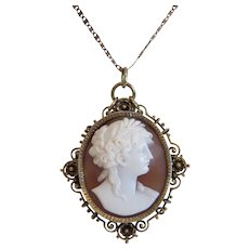 Antique shell Cameo pendant, gilt metal, 19th century