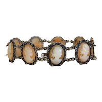 Antique hand carved shell Cameo bracelet , silver 925, 19th century