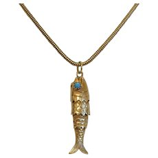 Vintage 14k yellow gold fish pendant, 20th century