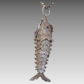 Antique silver fish pendant with silver chain, 19th century