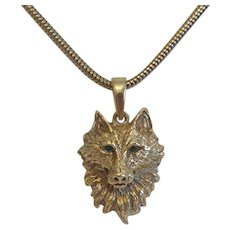 Vintage 14 k yellow gold wolf head pendant, ca. 1960