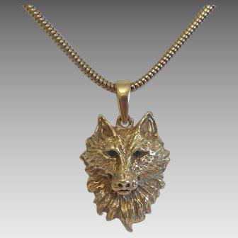Vintage 14 k yellow gold wolf head pendant, ca. 1960