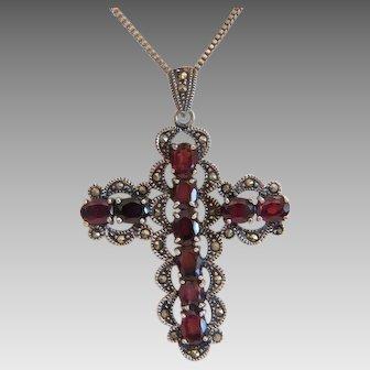 Antique Garnet and Marcasite cross pendant, ca. 1900