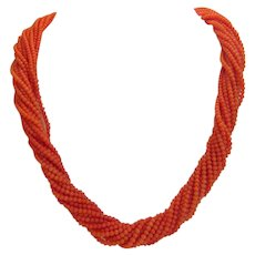 Vintage red Coral bead necklace, 15 strands, ca.1960