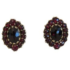 Vintage Garnet ear clips,9 k yellow gold, early 20th century