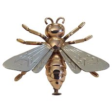 Antique bee brooch, 14 k yellow and rose gold, 19th century