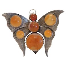 Antique Agate butterfly brooch/ pendant, silver 800 ca. 1900