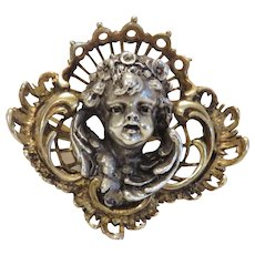 Antique Cherub brooch, silver 800, 19th century
