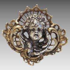 Antique Cherub brooch, silver 800, 19th century