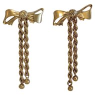 Vintage 14k yellow gold bow ear studs, ca. 1970