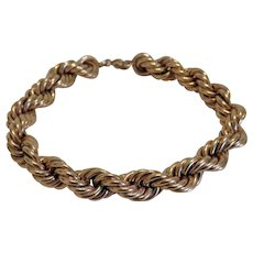 Vintage 14 k yellow gold rope bracelet, early 20th century