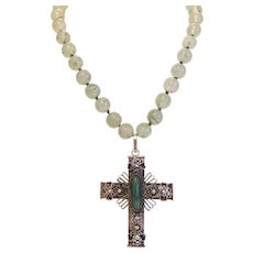 Antique Jade  cross pendant with Phrenite necklace, 19th century