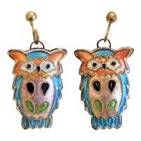 Vintage colorful  enamel  owl earrings, ca. 1970