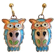 Vintage colorful  enamel  owl earrings, ca. 1970