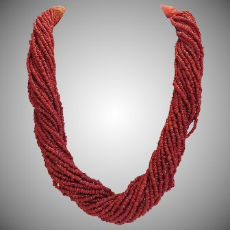 Vintage tribal art Coral bead necklace, ca. 1940