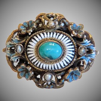 Antique Turquoise and Enamel brooch, gilt silver, 19th century