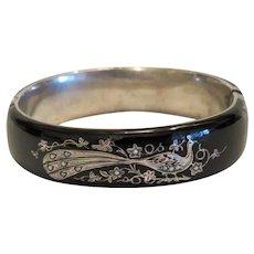 Antique Russian silver on black enamel  bracelet , ca. 1910