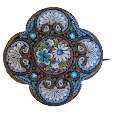 Antique colorful Micro Mosaic brooch, gilt metal, 19th century