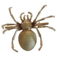 Vintage 18k yellow gold spider brooch with Ruby eyes , ca. 1930