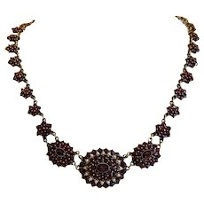 Antique Bohemian Garnet necklace, 9k yellow gold, 19th century