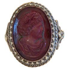 Antique purple glass Cameo ring, silver 925,19th century