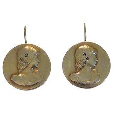 Art Nouveau earrings, 14k yellow gold, ca. 1900