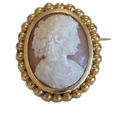 Antique Shell Cameo brooch, 14k yellow gold, 19th century