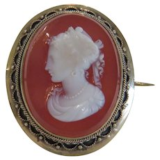 Antique Carnelian Cameo brooch, 9 k yellow gold, 19th century