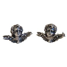 Antique pair of Cherub brooches, 19th century