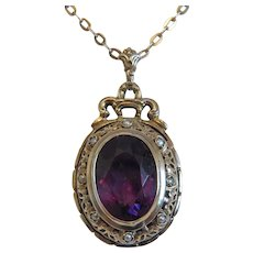 Antique Amethyst pendant with seed pearls, silver 800, ca. 1900
