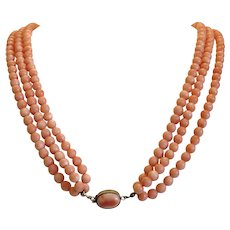 Vintage three strand natural Coral bead necklace, early 20th century