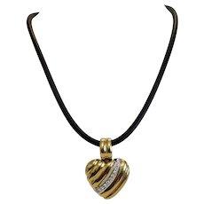 Vintage Diamond heart pendant, 18k yellow gold, ca. 1960