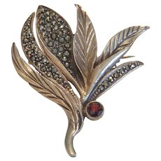Antique Garnet and Marcasite brooch, gilt silver 925, ca.1900