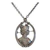 Art Nouveau brooch/ pendant, silver 925,ca.1900