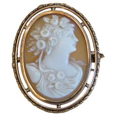 Antique shell Cameo brooch, 9k yellow gold, 19th century
