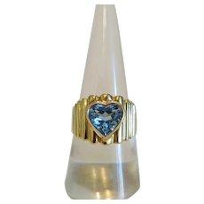 Vintage blue Topaz ring,18k yellow gold, ca. 1960