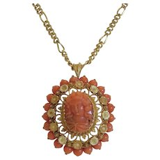 Antique Italian Coral Cameo, 18k yellow gold, 19th century