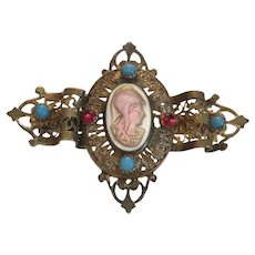 Antique Mother of Pearl brooch, gilt metal, 19th century