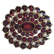 Antique Garnet brooch with seed pearls, git, metal, 19th century