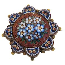 Antique Micro Mosaic flower brooch, 19th century